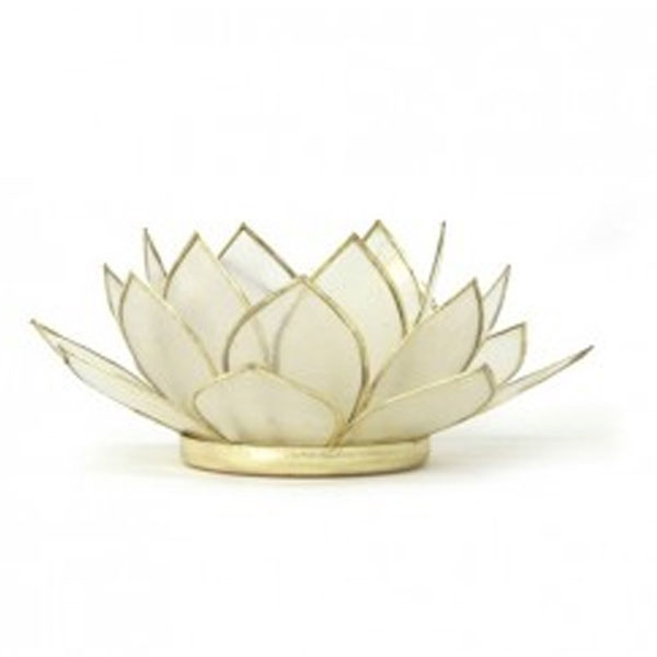 Lotus Capiz Shell Tealight Holder - White with Gold Trim