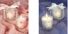 baby shower party favor hearts decorated votive candles