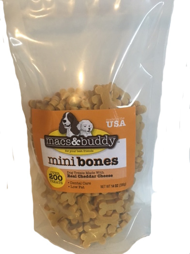 Talk to Me Treats (Macs & Buddy) Mini Bones - Cheddar Cheese Flavor - 14 oz re-sealable bag for freshness. Over 200 treats!
