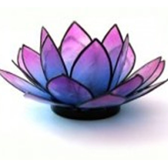 Lotus Capiz Shell Tealight Holder - Pink Turquoise