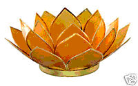 Lotus Capiz Shell Tealight Holder - Amber