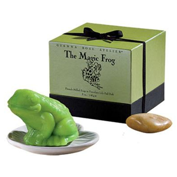 Gianna Rose Atelier The Magic Frog French Milled Soap in Porcelain Lily Pad Dish - On Oprah's 2015 Favorites List